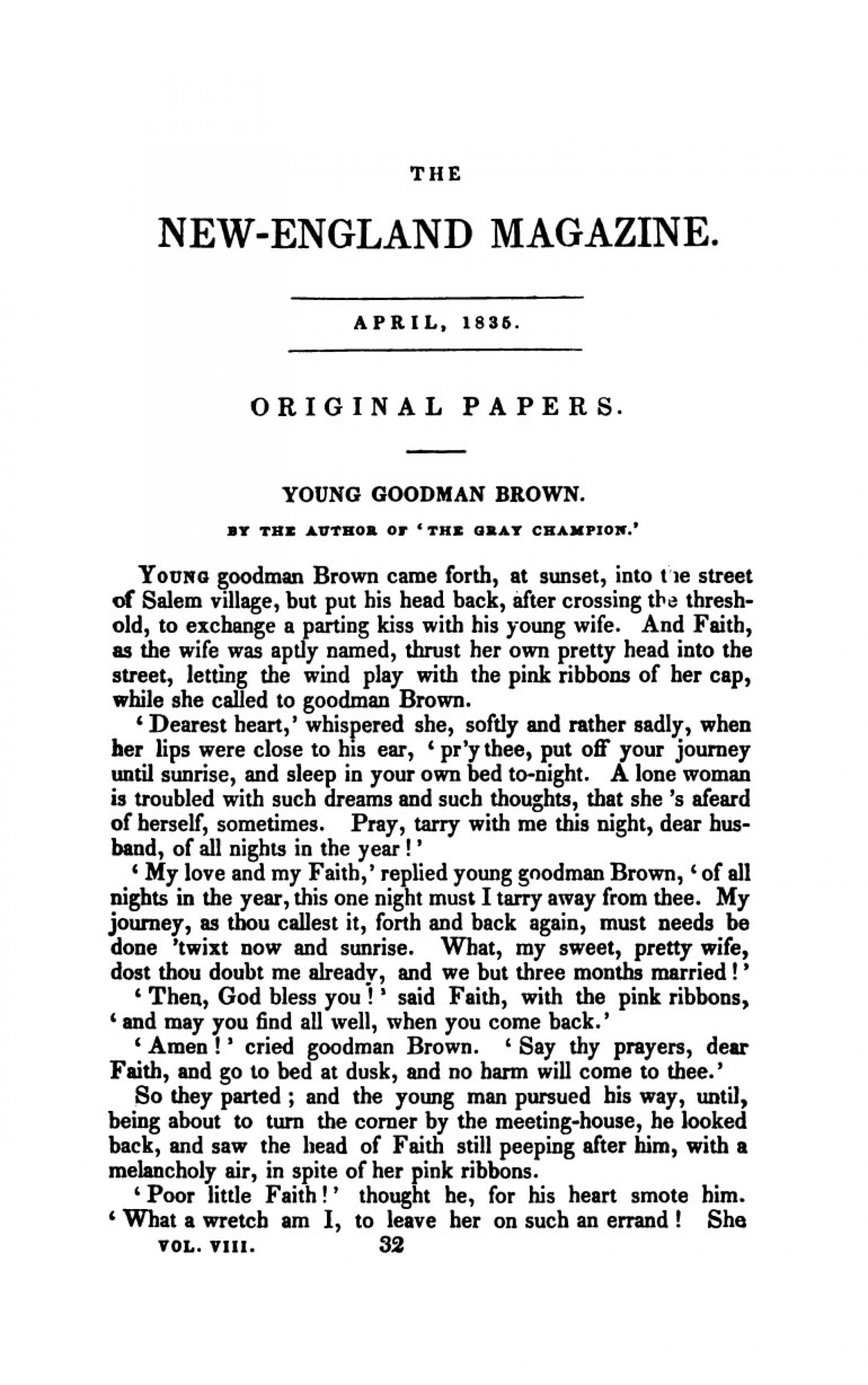 002 Young Goodman Brown Essay Example  The New England Magazine April 1835 Beautiful Writing Prompt Topics Theme1920