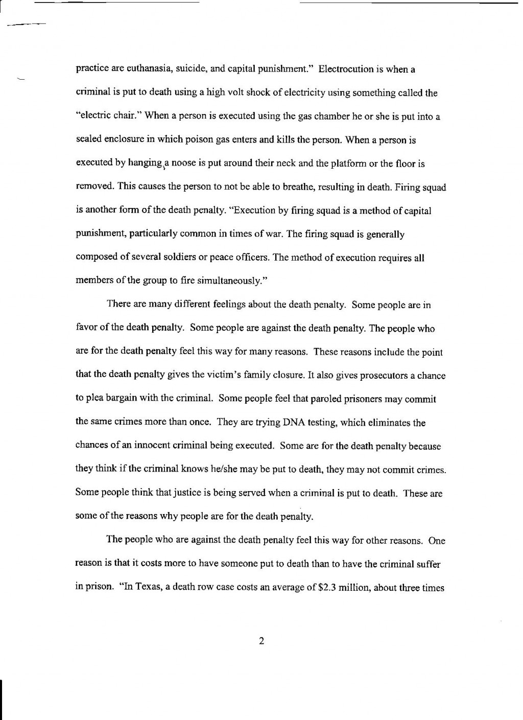 003 Against Death Penalty Essays Pg Essay Shocking Body Conclusion Anti Large