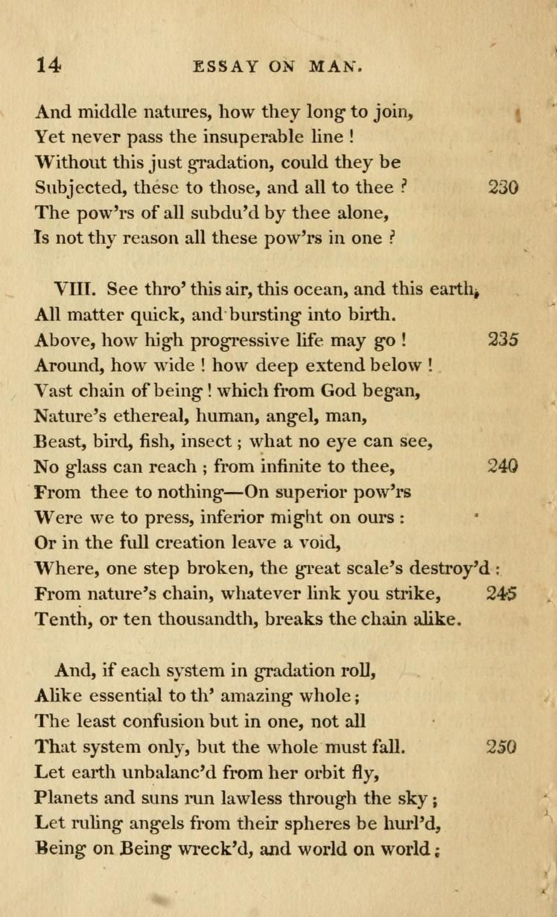 critical appreciation of the poem extract from an essay on man