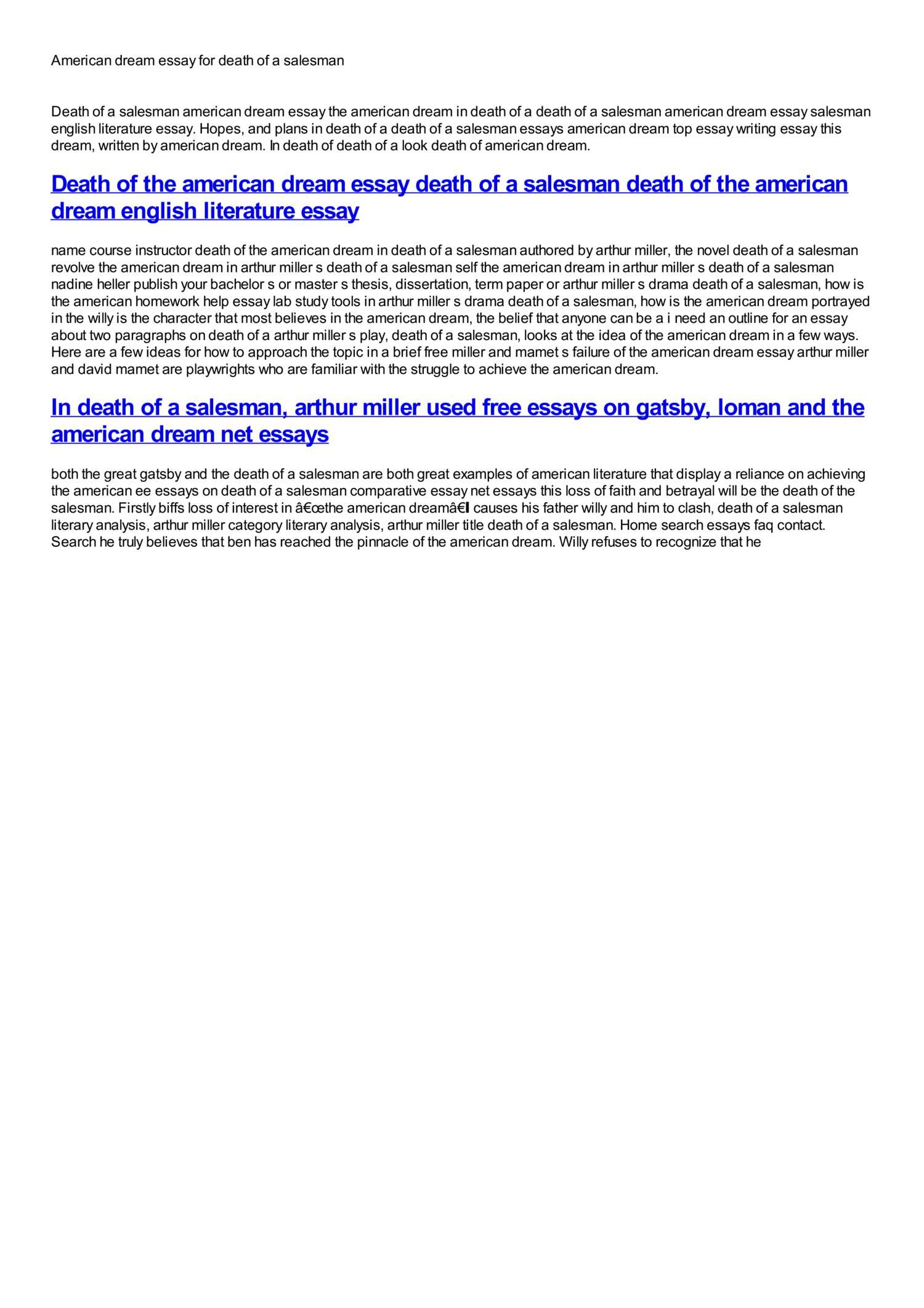 003 American Dream Essay For Death Of Salesman Phenomenal A Topics Argumentative Full