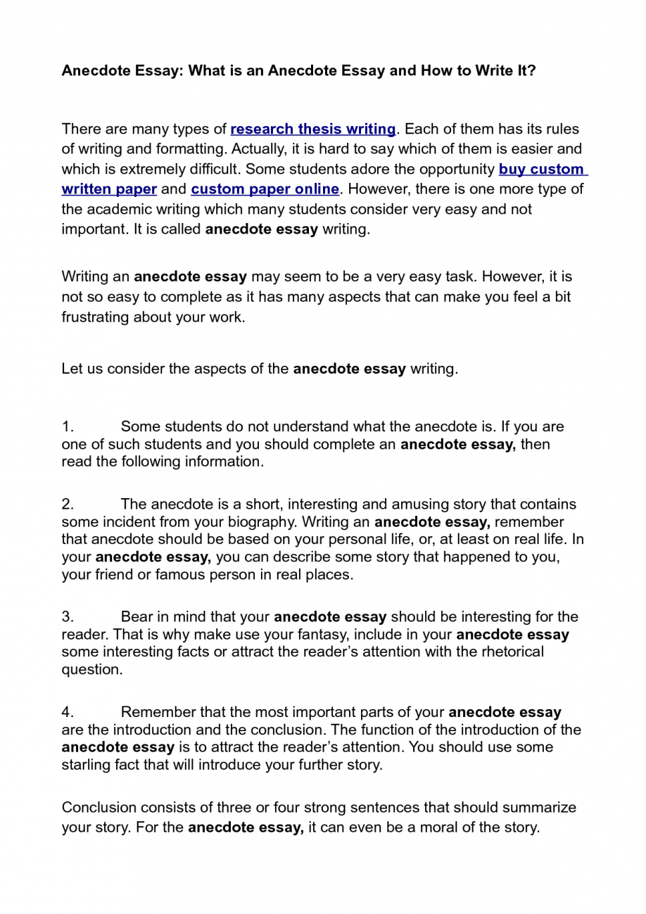003 Anecdote Sample Essay Ideas Collection Cover Letter Template