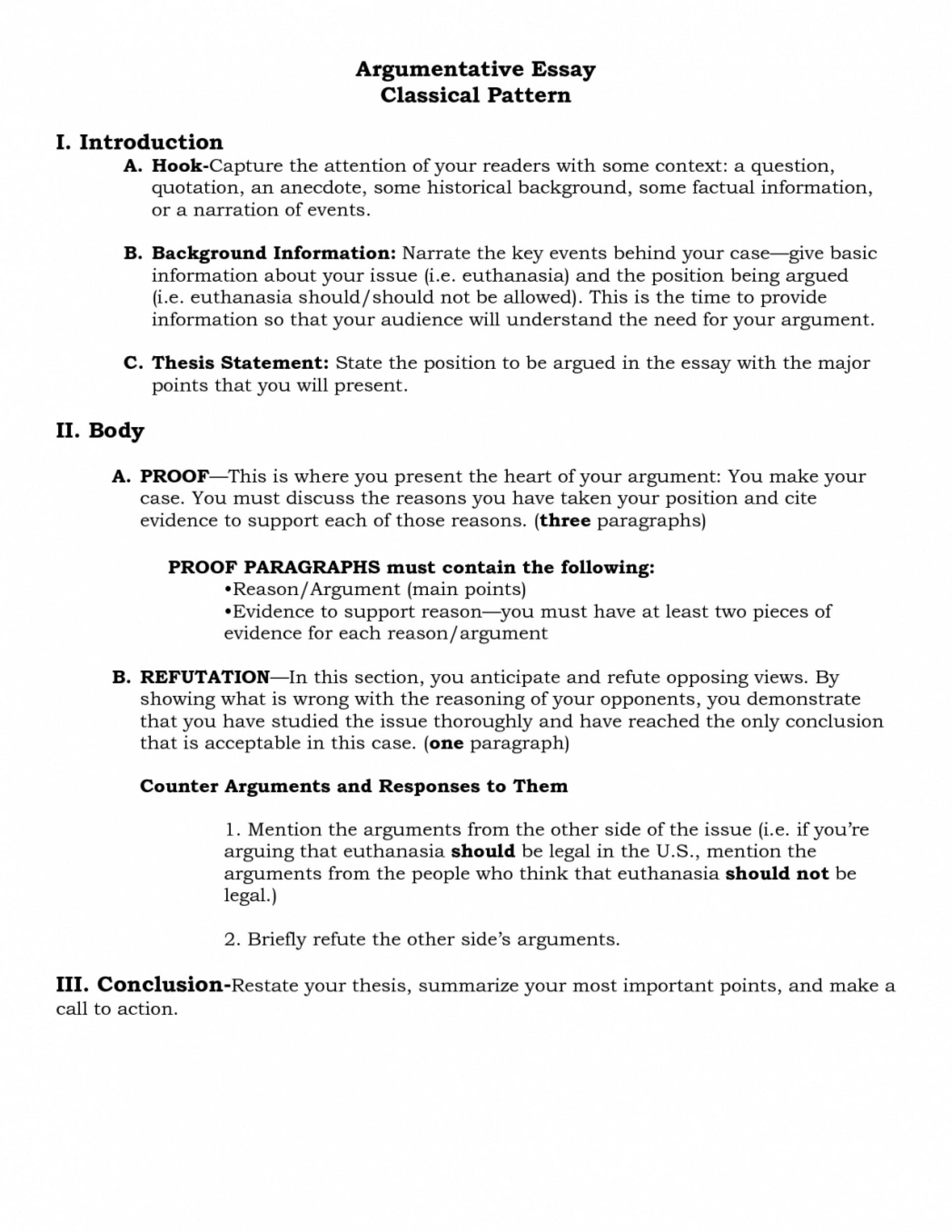 003 Argument Essay Outline Format Research An Argumentative