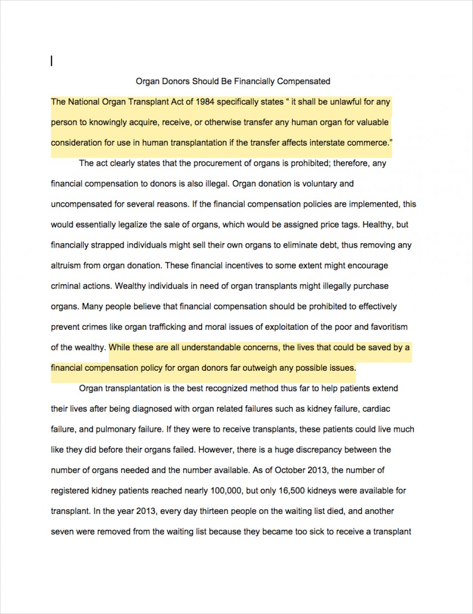003 Argumentation Essay Example Argumentative Examples Organ Donors Should Financially Compensated Dreaded Conclusion Sentence Starters Introduction Format 9th Grade 960
