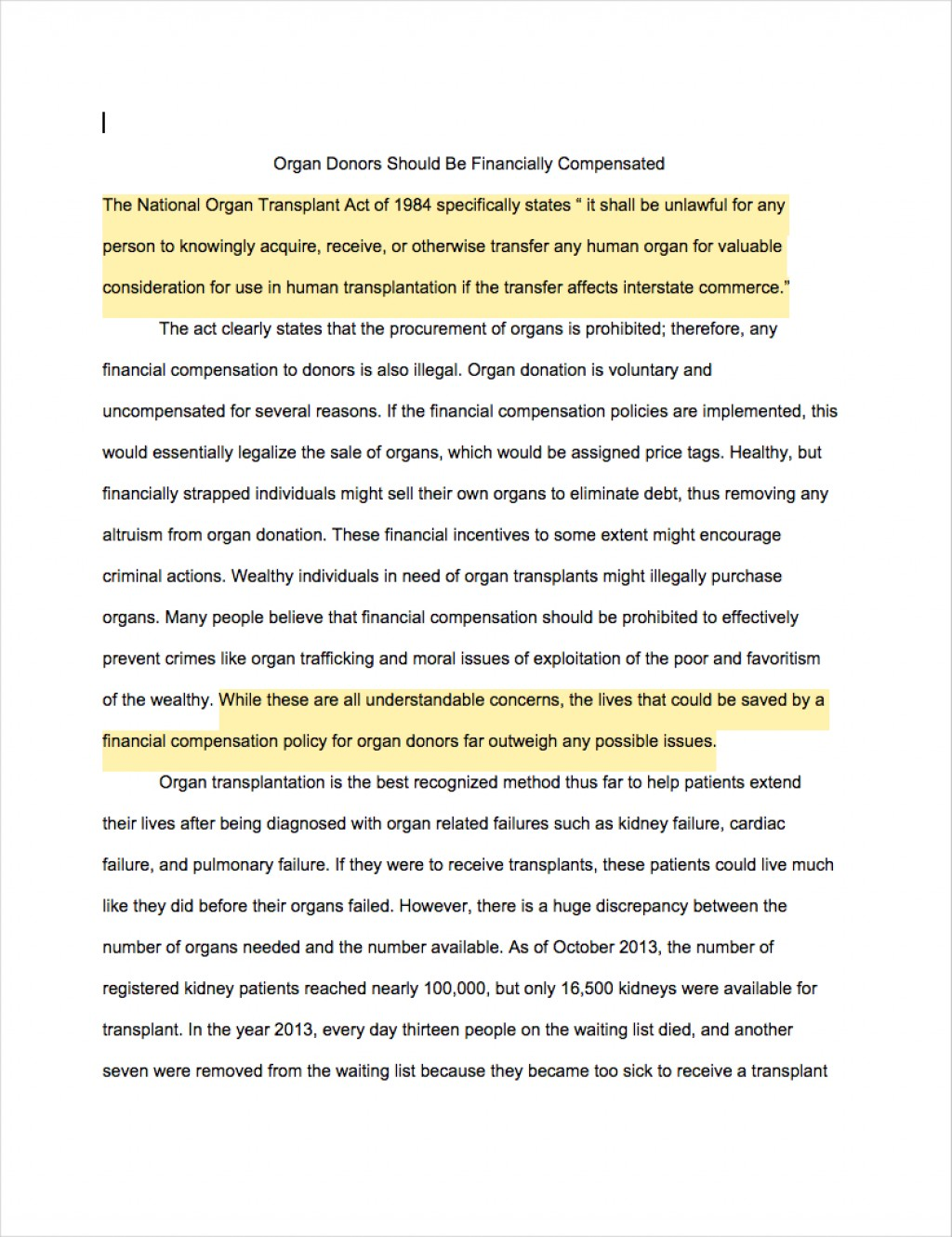 003 Argumentative Essays Organ Donors Should Financially Compensated1 Incredible Example Essay Ap Lang Rogerian Argument Topics Middle School Large