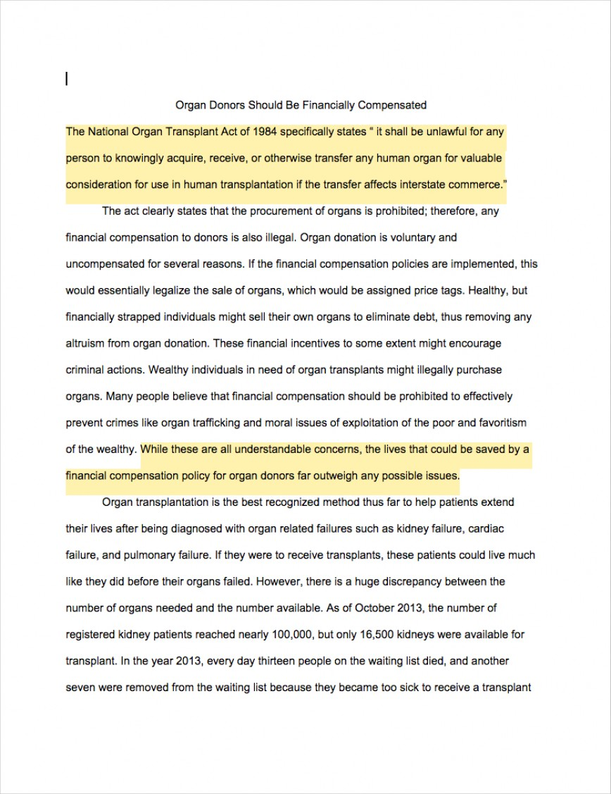 003 Argumentative Essays Organ Donors Should Financially Compensated1 Incredible Example Essay Of Introduction Body And Conclusion Mla Format A Great