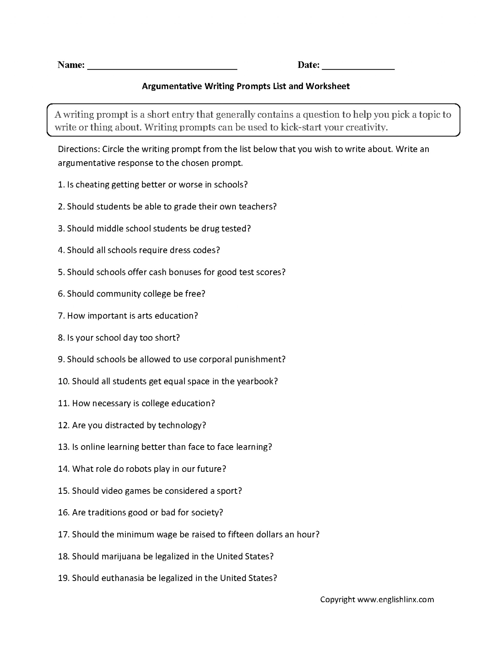 003 Argumentative Writing Prompts List Worksheet Essay Example For Best Essays College Persuasive Opinion 4th Grade 1920