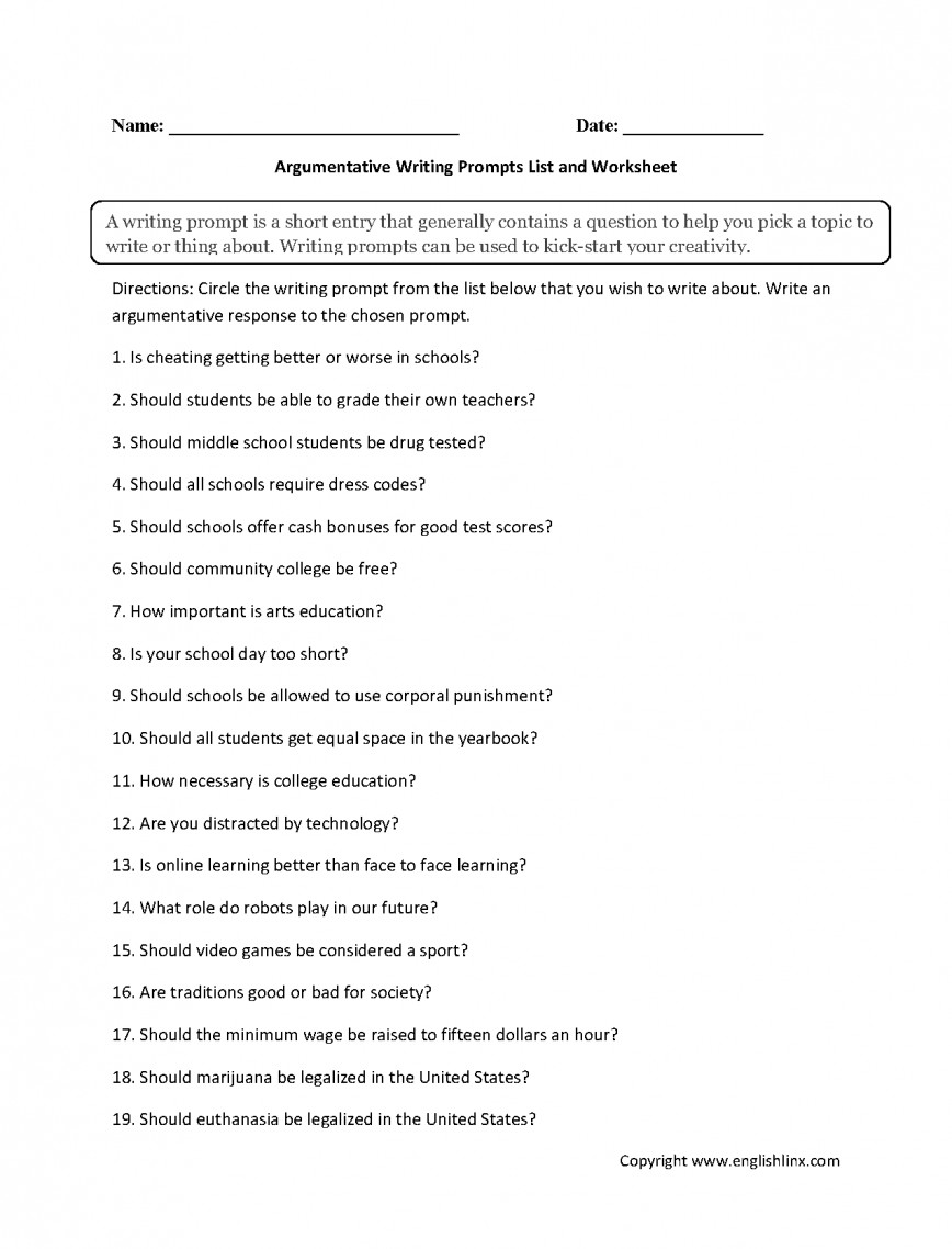 003 Argumentative Writing Prompts List Worksheet Essay Example For Best Essays Expository Middle School Persuasive Schoolers