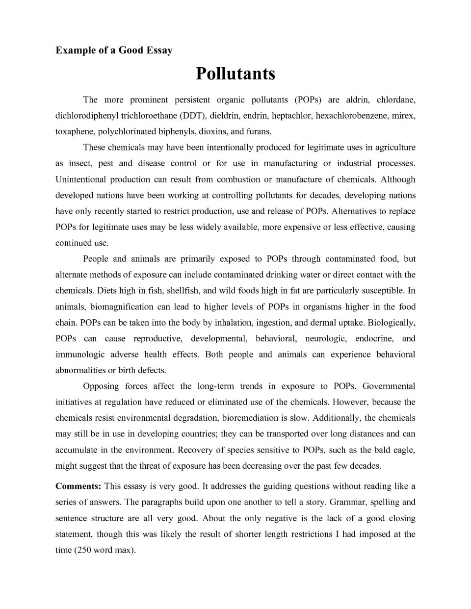 Opinion essay about environmental problems