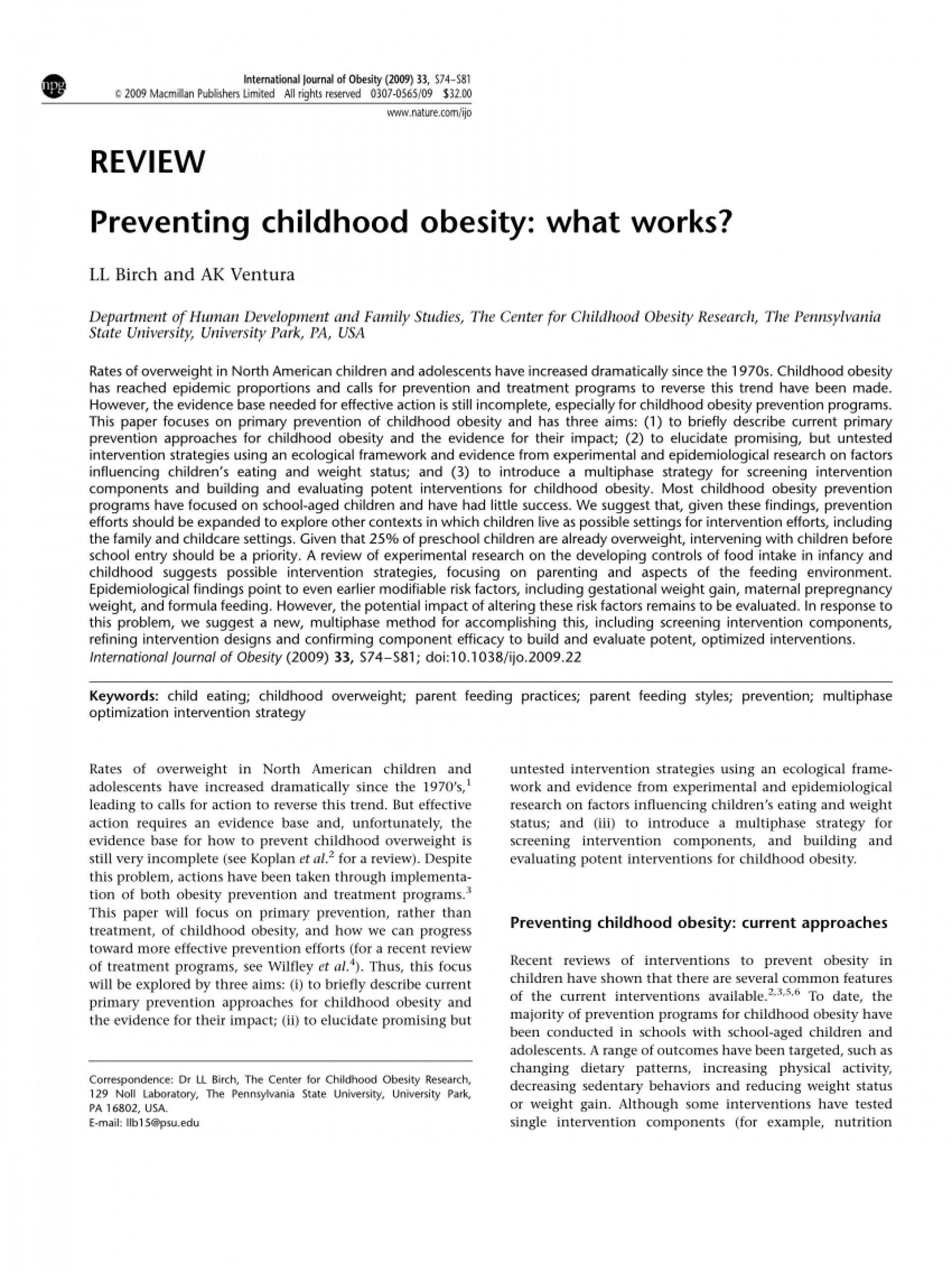 sample research paper about obesity