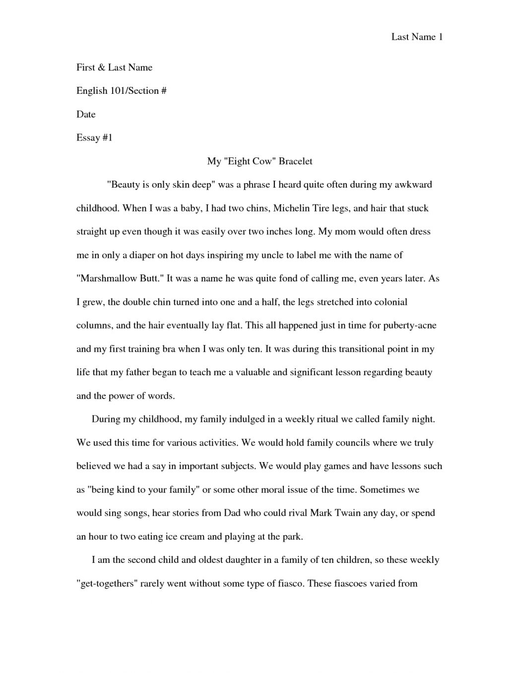 Narrative essay examples for college