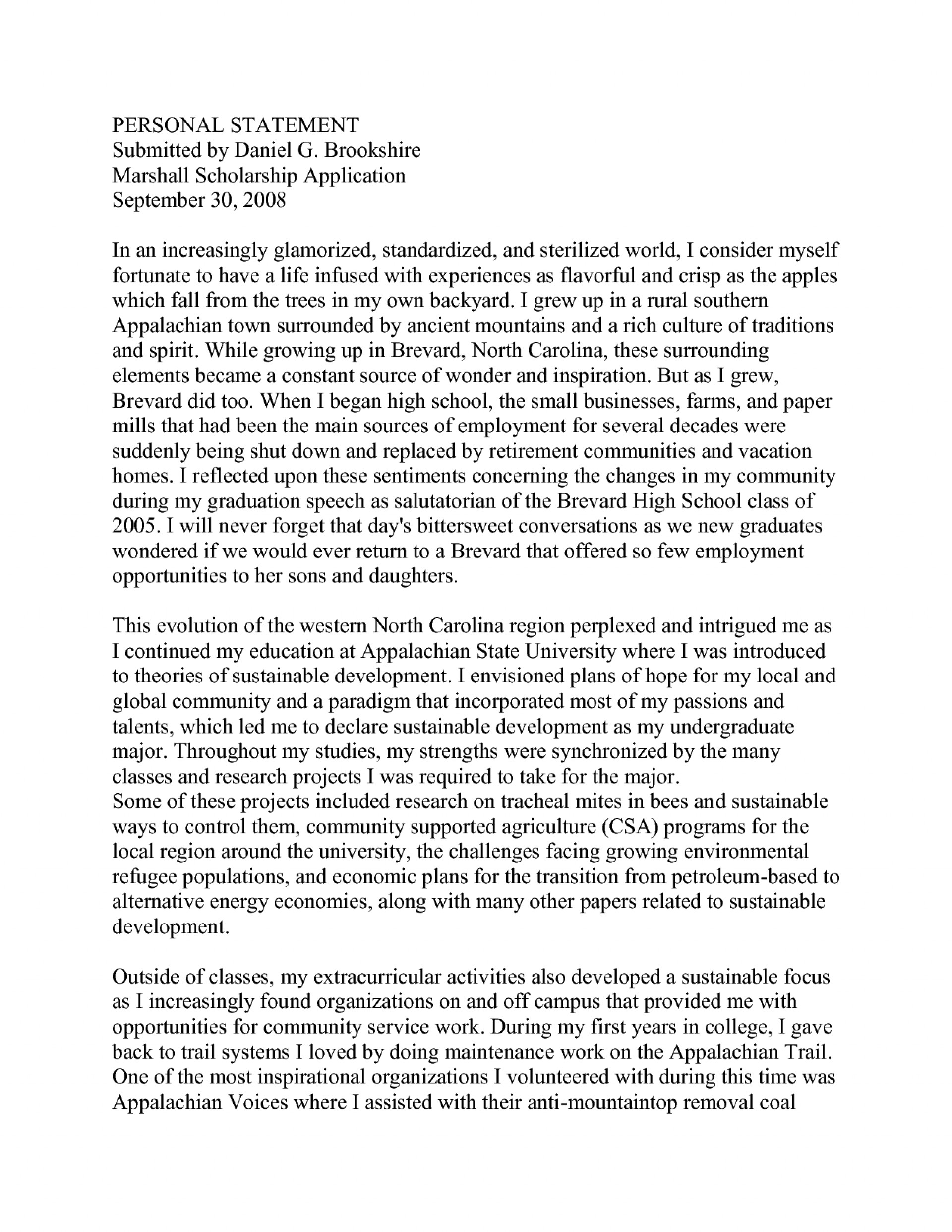 003 College Personal Statement Essays Marvelous Essay Examples 1920