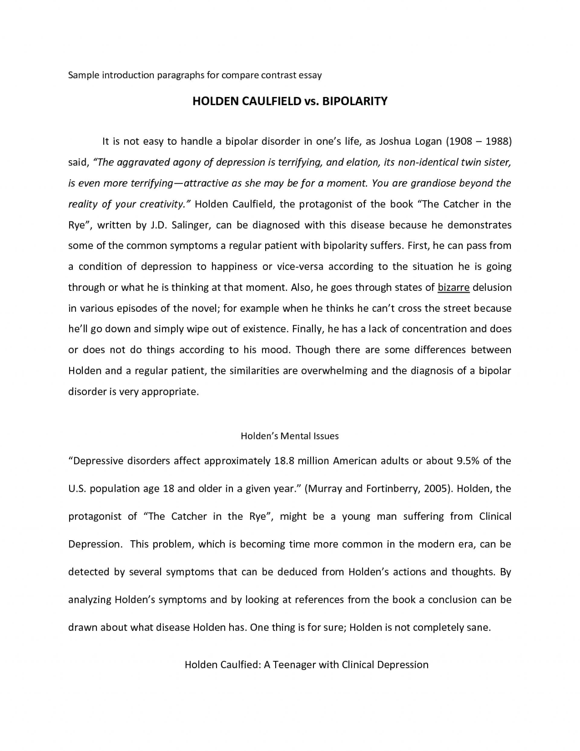 003 Compare And Contrast Essay Intro Example Fresh Of Introduction Extraordinary For Top Paragraph Sample 1920