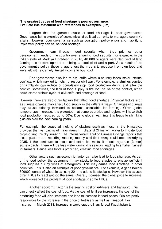 003 Divorce Essay Example Thegreatestcauseoffoodshortageispoorgovernanceldessay Lva1 App6892 Thumbnail Unusual Titles Conclusion Social Issue 1920