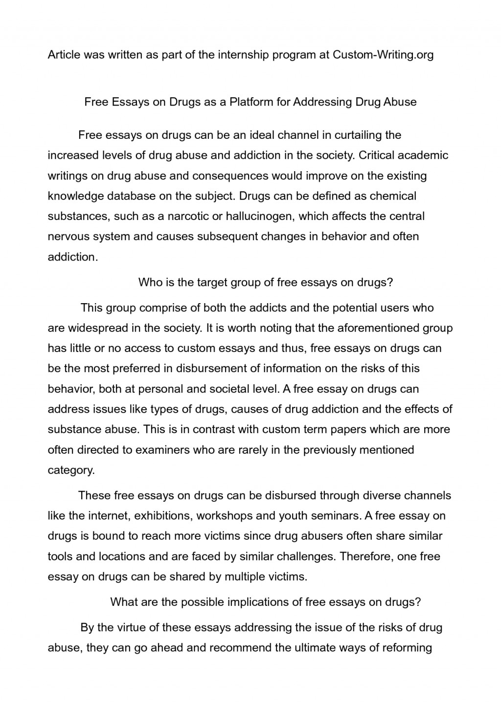 Youth drug abuse essay