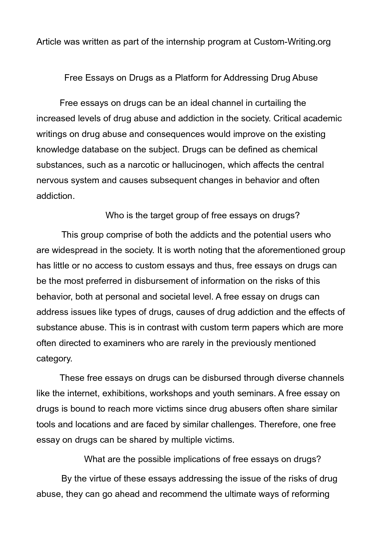 003 Drug Addiction Essay Stunning Pdf Topics Full