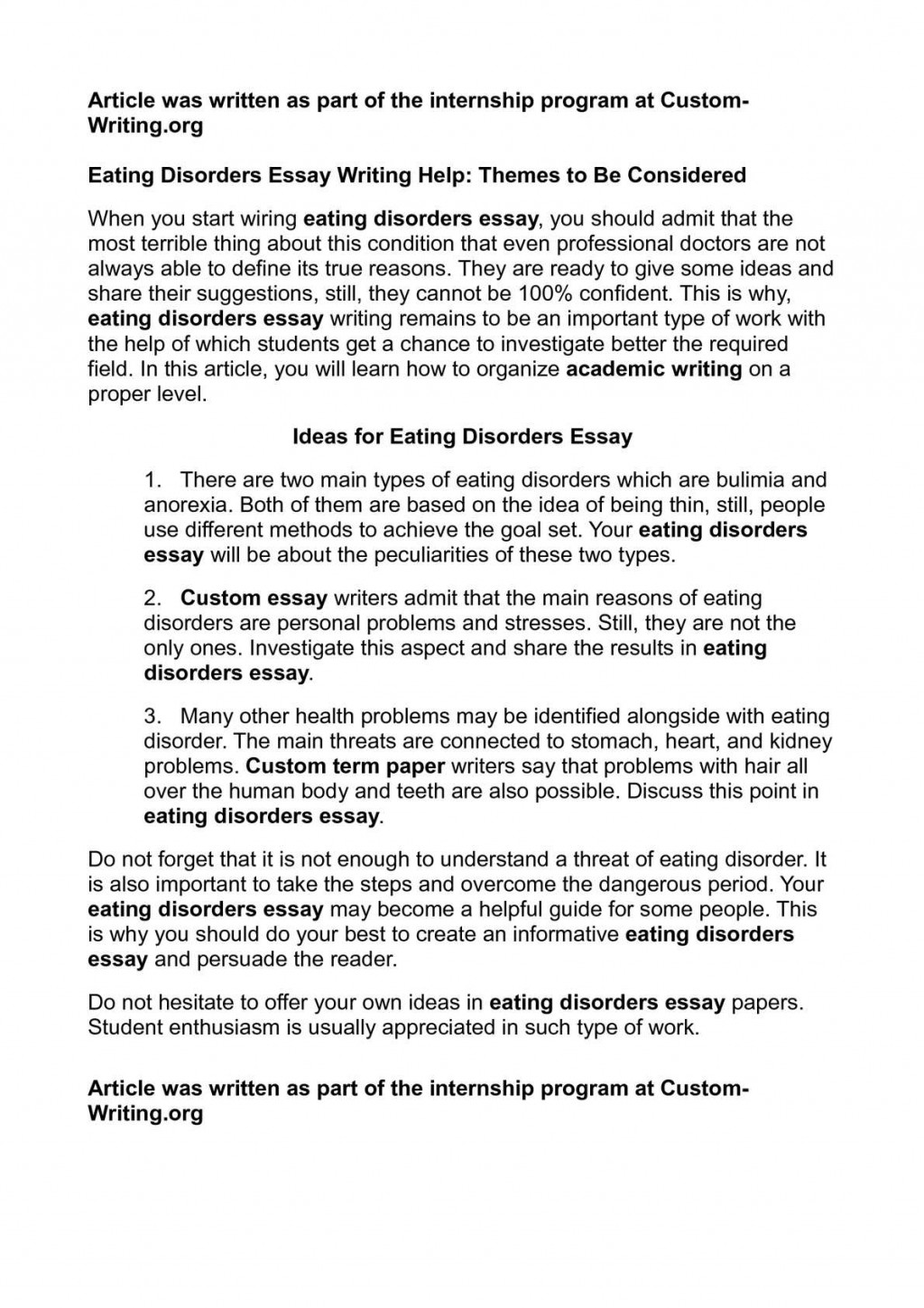 003 Eating Disorders Essay P1 Outstanding Psychology Title Essays Conclusion Large