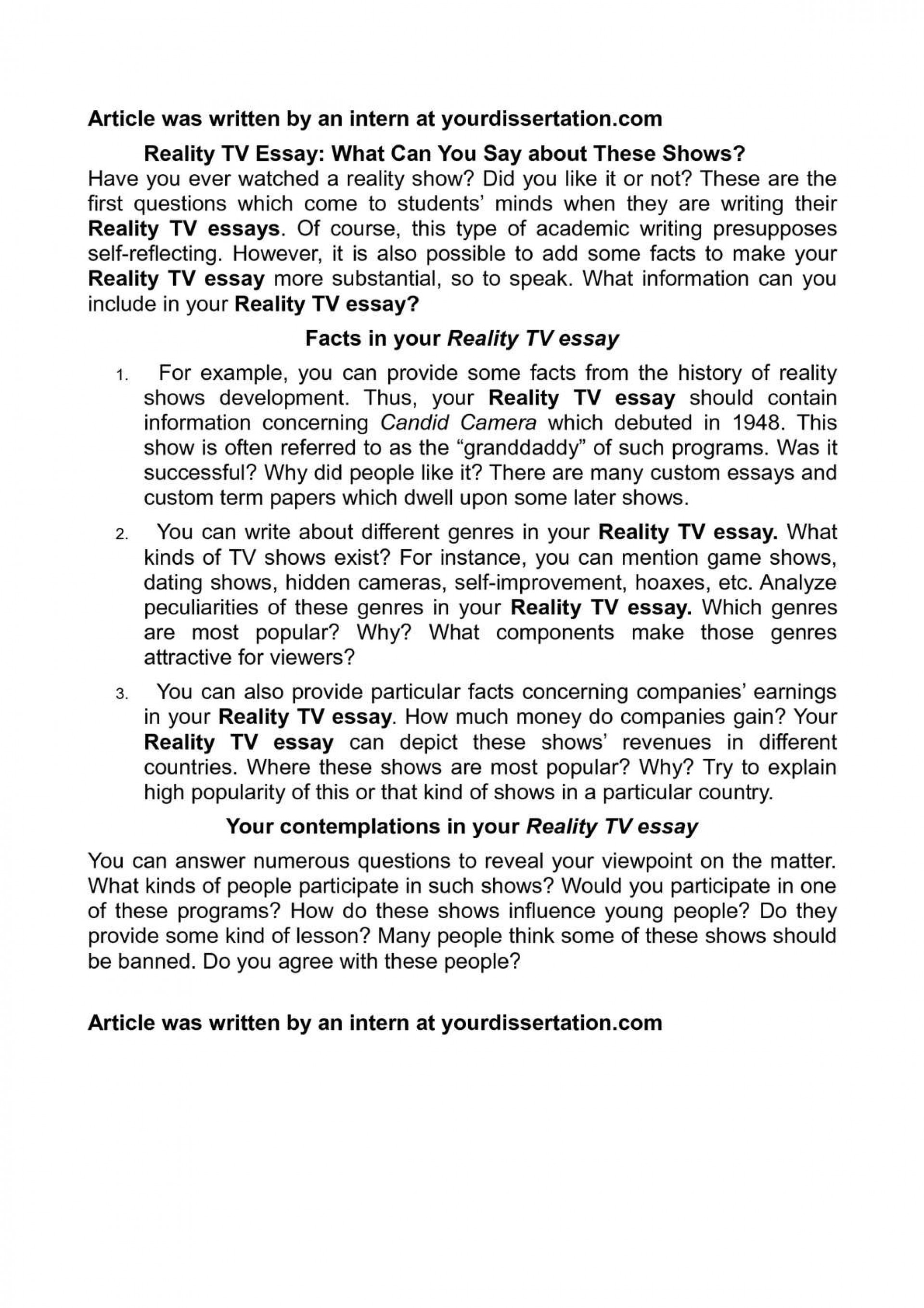 the dangers of reality tv essay