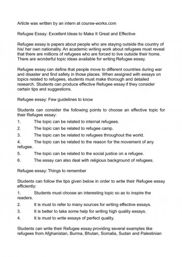 003 Essay About Refugees P1 Staggering Syrian Argumentative Persuasive 360