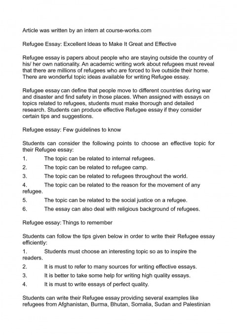 003 Essay About Refugees P1 Staggering Syrian Argumentative Persuasive 480