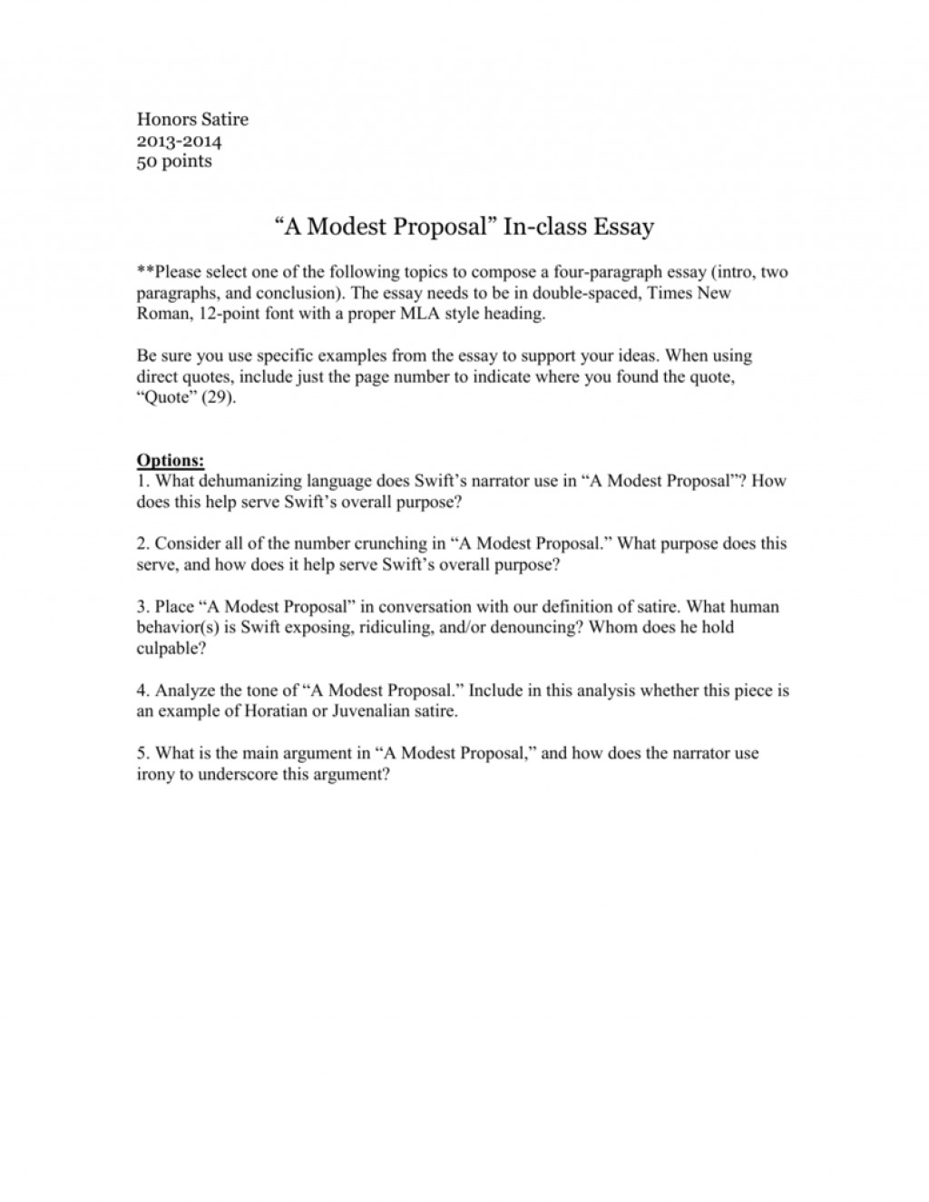 003 Essay Example 006676987 1 Modest Astounding A Proposal 50 Essays Questions Large