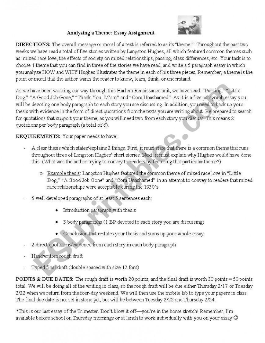 003 Essay Example 553192 1 Langston Theme Phenomenal Hughes Harlem Renaissance By Criticism Conclusion