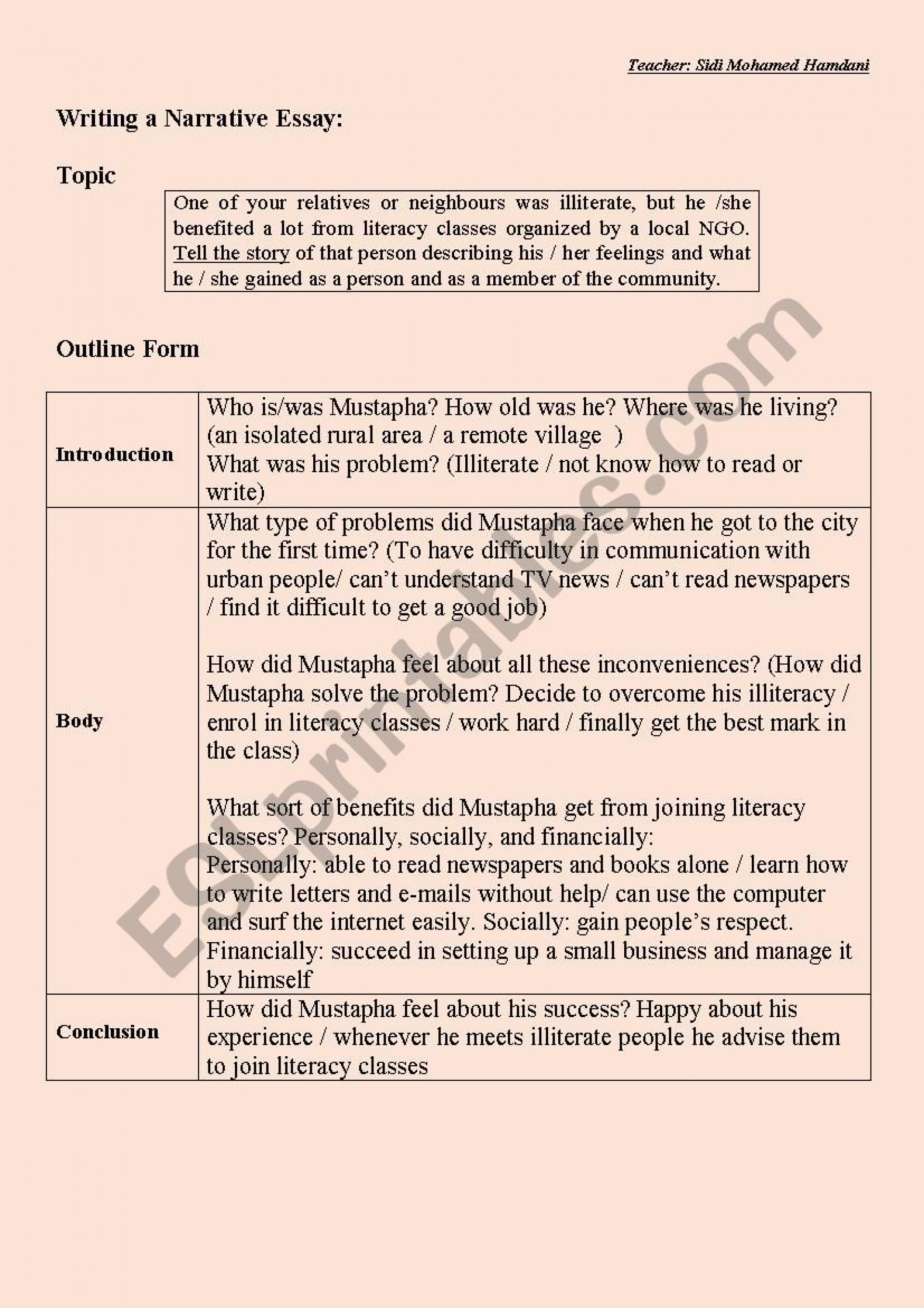 003 Essay Example 808001 1 Writing A Outline Form Sample Short Fantastic Narrative Pdf About Life Topics 1920