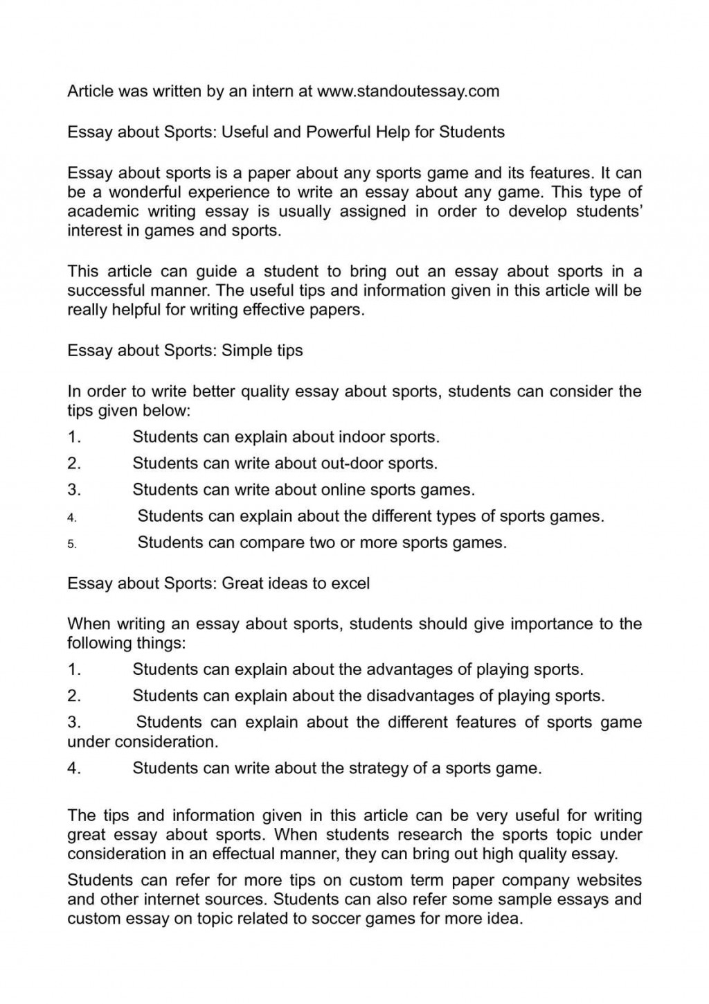 003 Essay Example About Sports Awesome Sportsmanship Personal Spirit Of Large