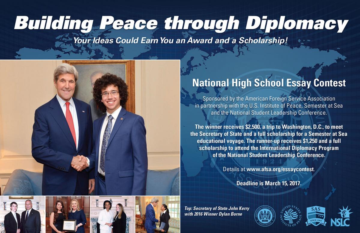 003 Essay Example Afsa High School Contest National Building Peace Through Diplomacy Staggering Full