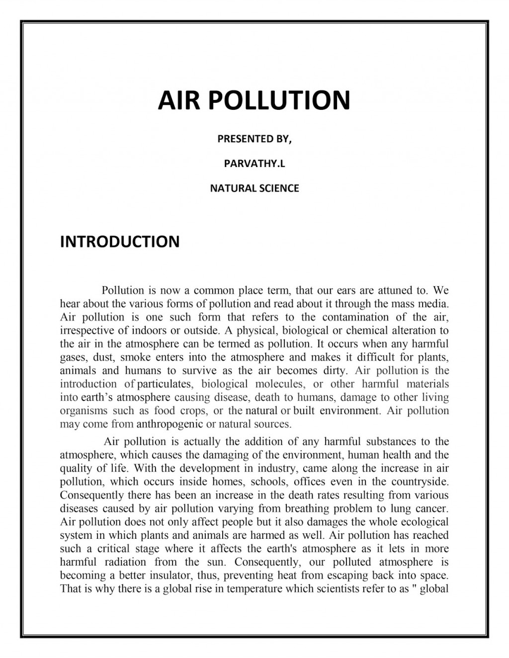 003 Essay Example Airpollutiononlineassignment Air Sensational Pollution Outline Thesis Statement Large