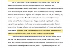 003 Essay Example Argumentative Pdf Examples Organ Donors Should Financially Compensated Unique Outline Sample Download High School