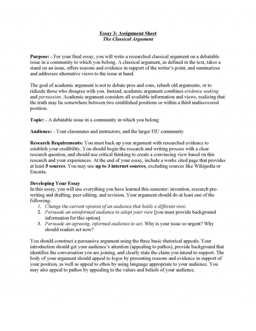 003 Essay Example Classical Argument Unit Assignment Page 1 Proposal Unique Examples Large