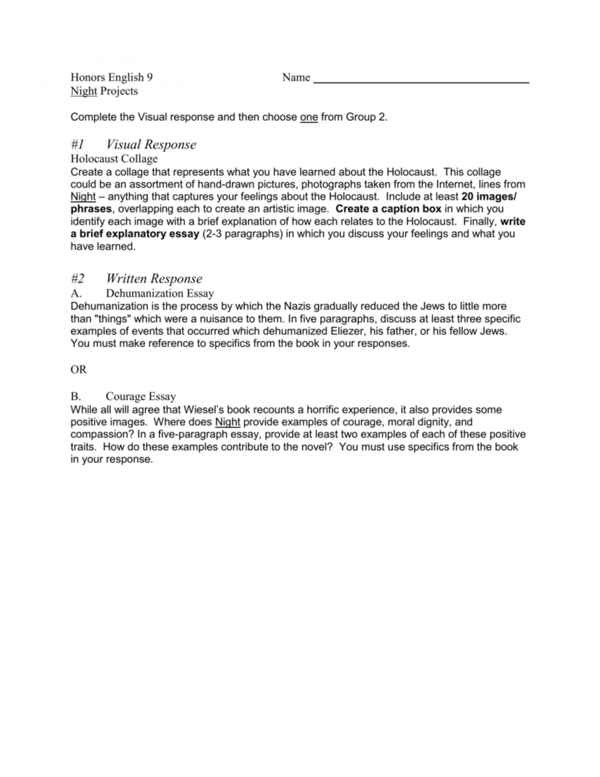 003 Essay Example Dehumanization In Night 008501396 1 Remarkable Conclusion 1920
