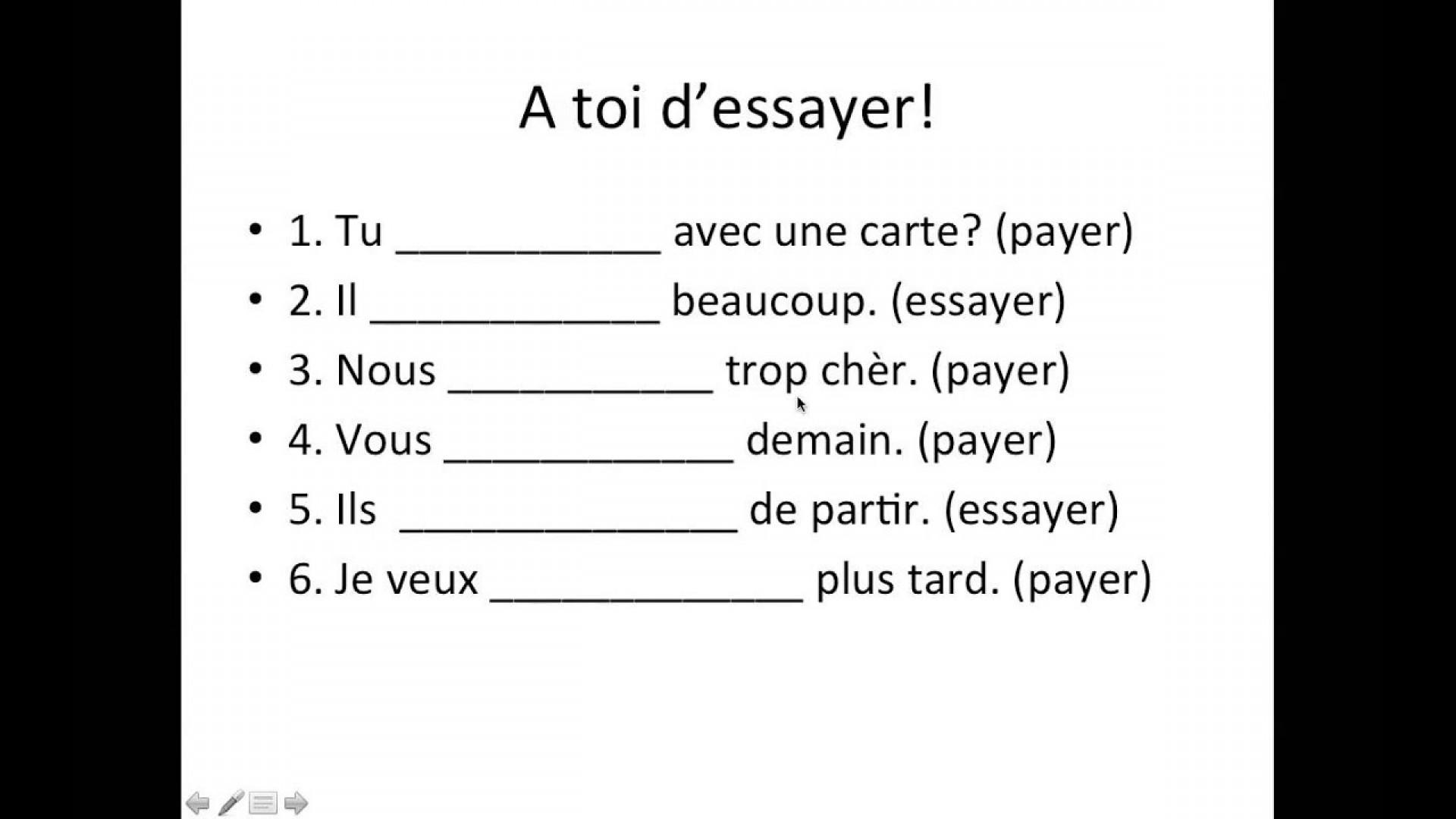 003 Essay Example Essayer Conjugation French Breathtaking Future Verb Past 1920