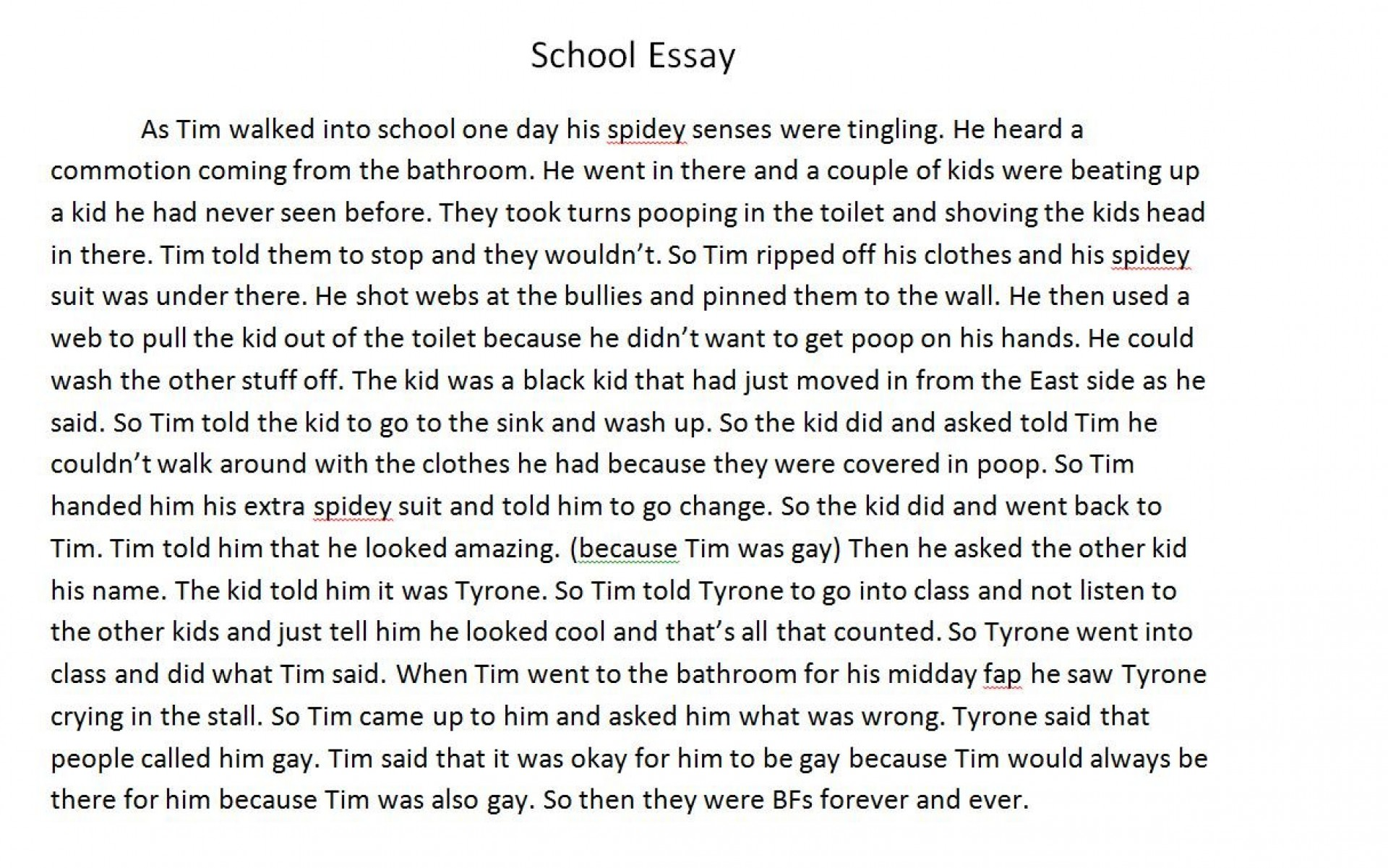 003 Essay Example Fddb74 3451752 About Phenomenal A School Narrative Trip Elementary Experience New Boy At 1920