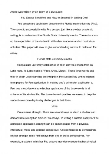 003 Essay Example Fsu Prompt Essays Simplified And How To Succeed In Writing O Florida State University Examples Unique Care Program 360