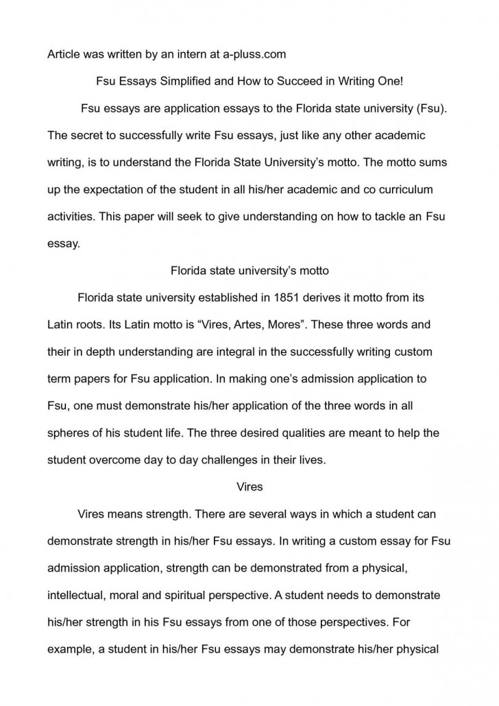 003 Essay Example Fsu Prompt Essays Simplified And How To Succeed In Writing O Florida State University Examples Unique Care Program 728