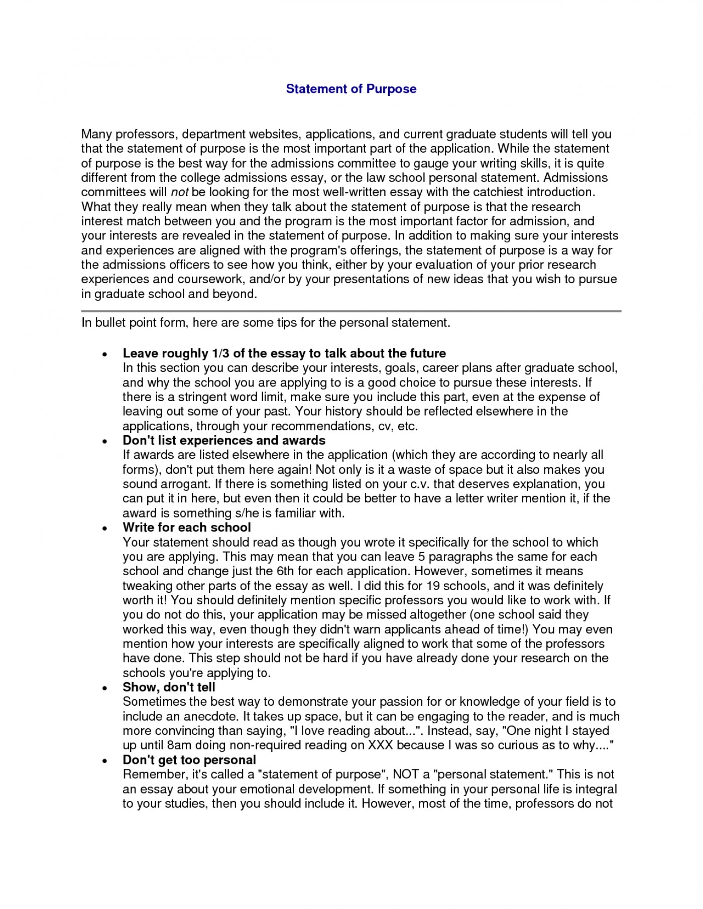 004 Essay Example Statement Purposeuate School Sample