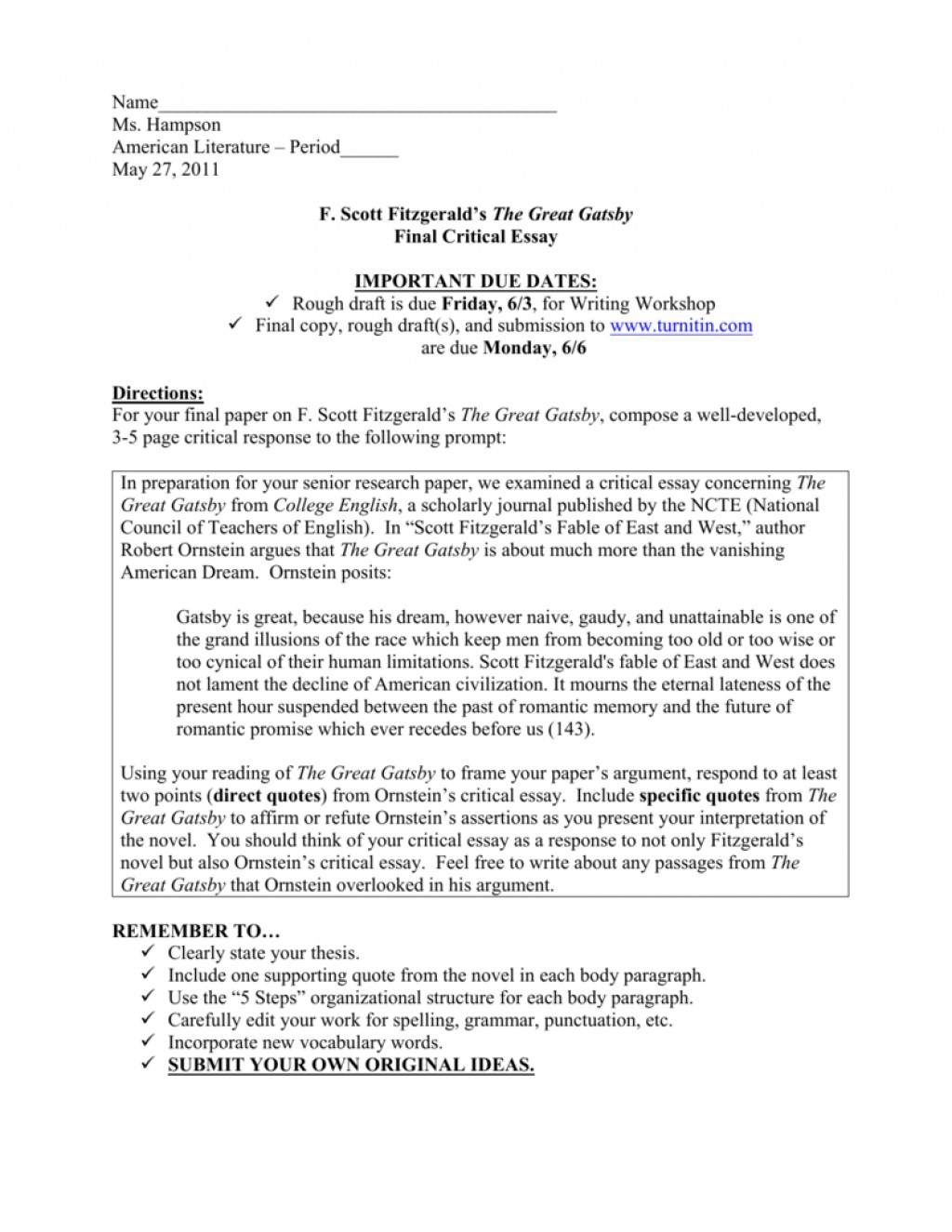 003 Essay Example Great Gatsby American Fantastic Dream Conclusion The Pdf Free Large