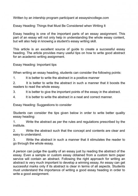 003 Essay Example Heading Remarkable Writing Mla Header Layout 480