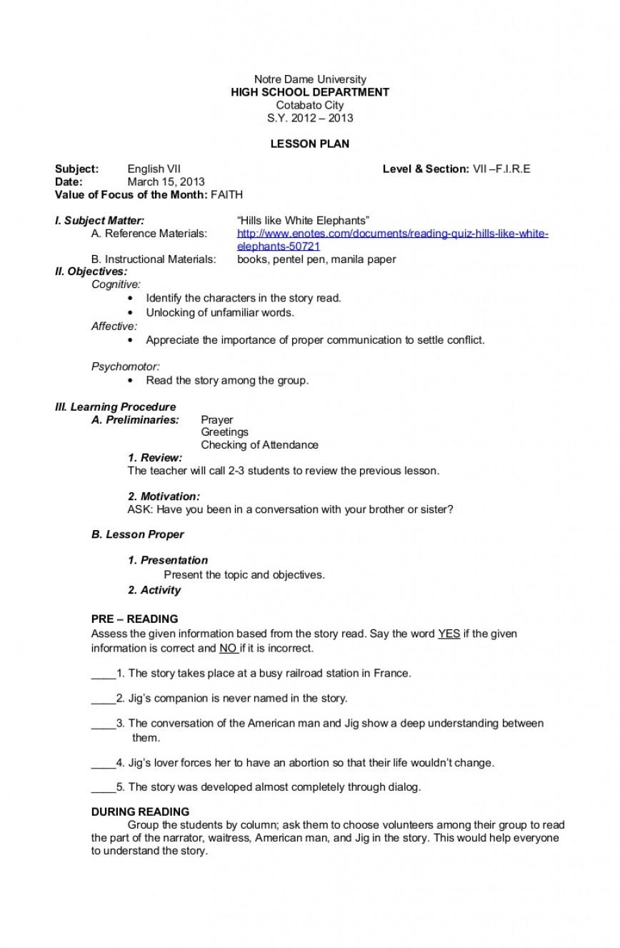 003 Essay Example Hills Like White Elephants Lphillslikewhiteelephantsprint2 Phpapp01 Thumbnail Striking Discussion Questions Pdf