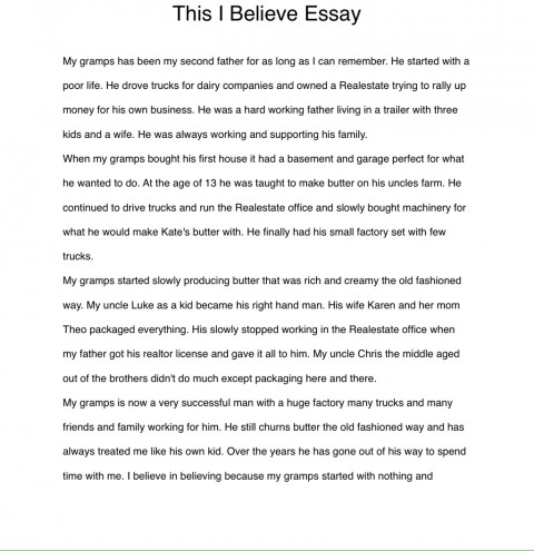 003 Essay Example I Believe Examples Phenomenal This Personal College 480