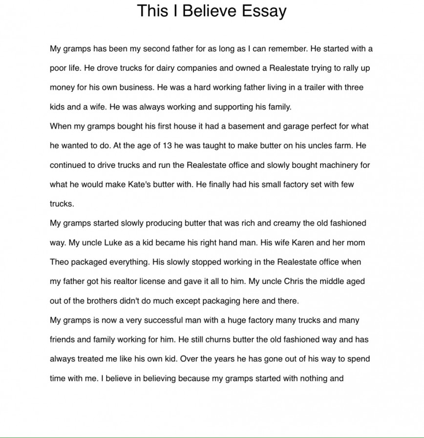 003 Essay Example I Believe Examples Phenomenal This Personal College 868