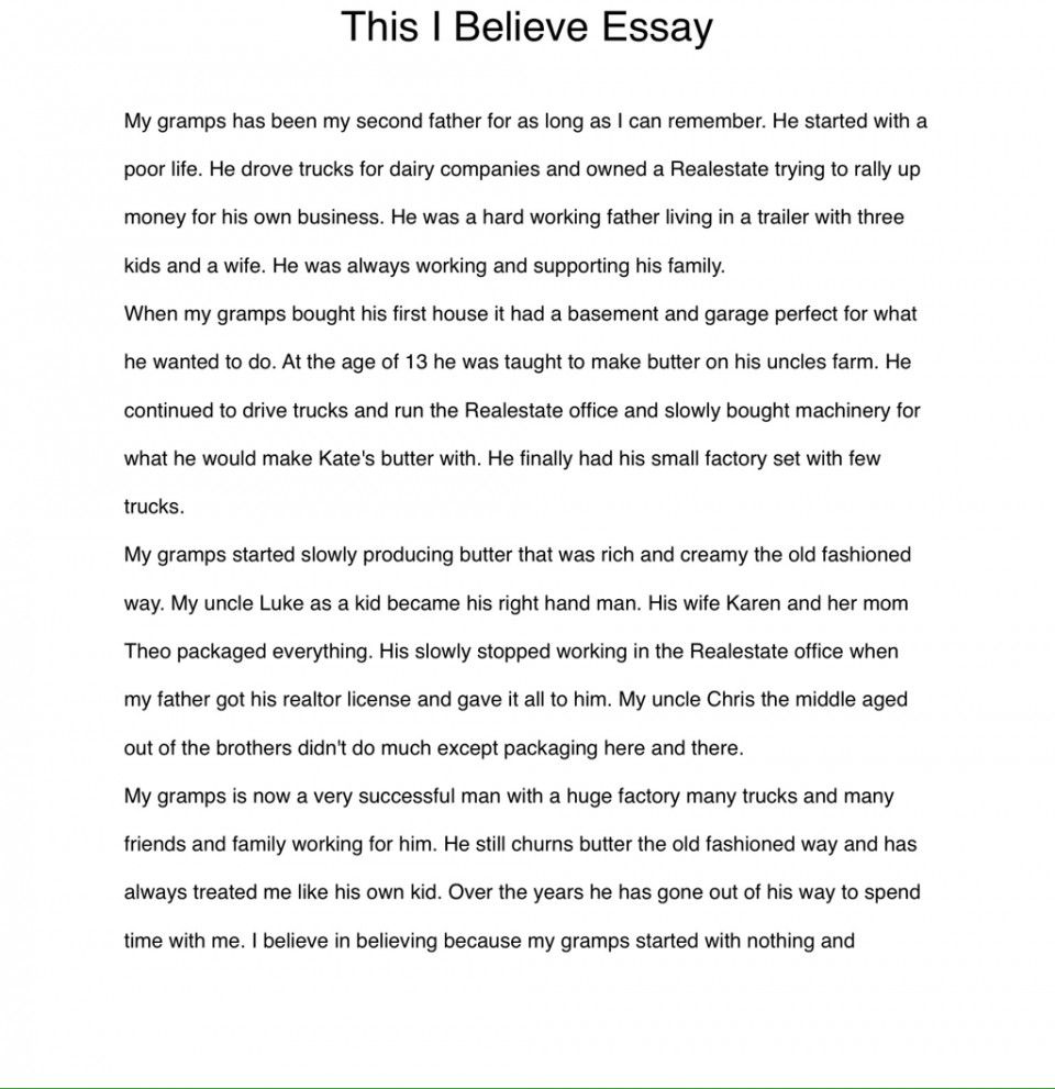 003 Essay Example I Believe Examples Phenomenal This Personal College 960