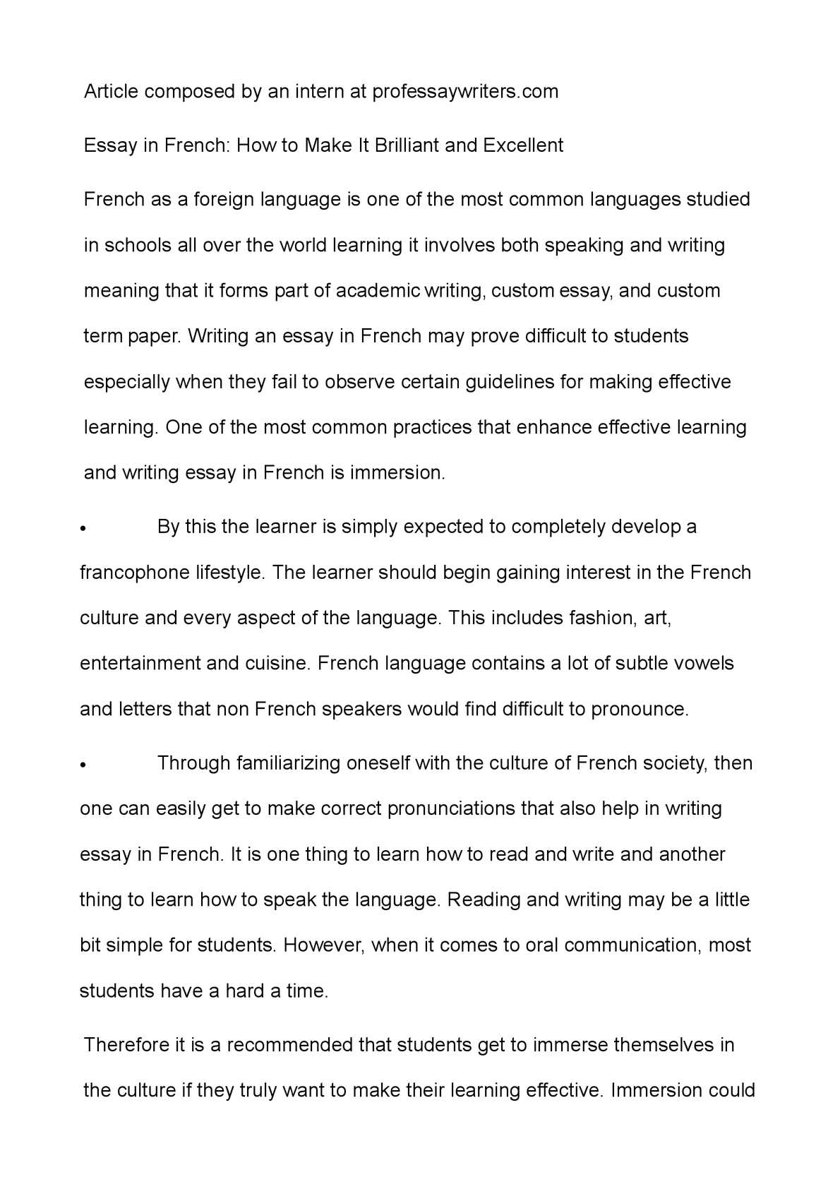 003 Essay Example In French Frightening Small On My Family Writing Language About Myself Full