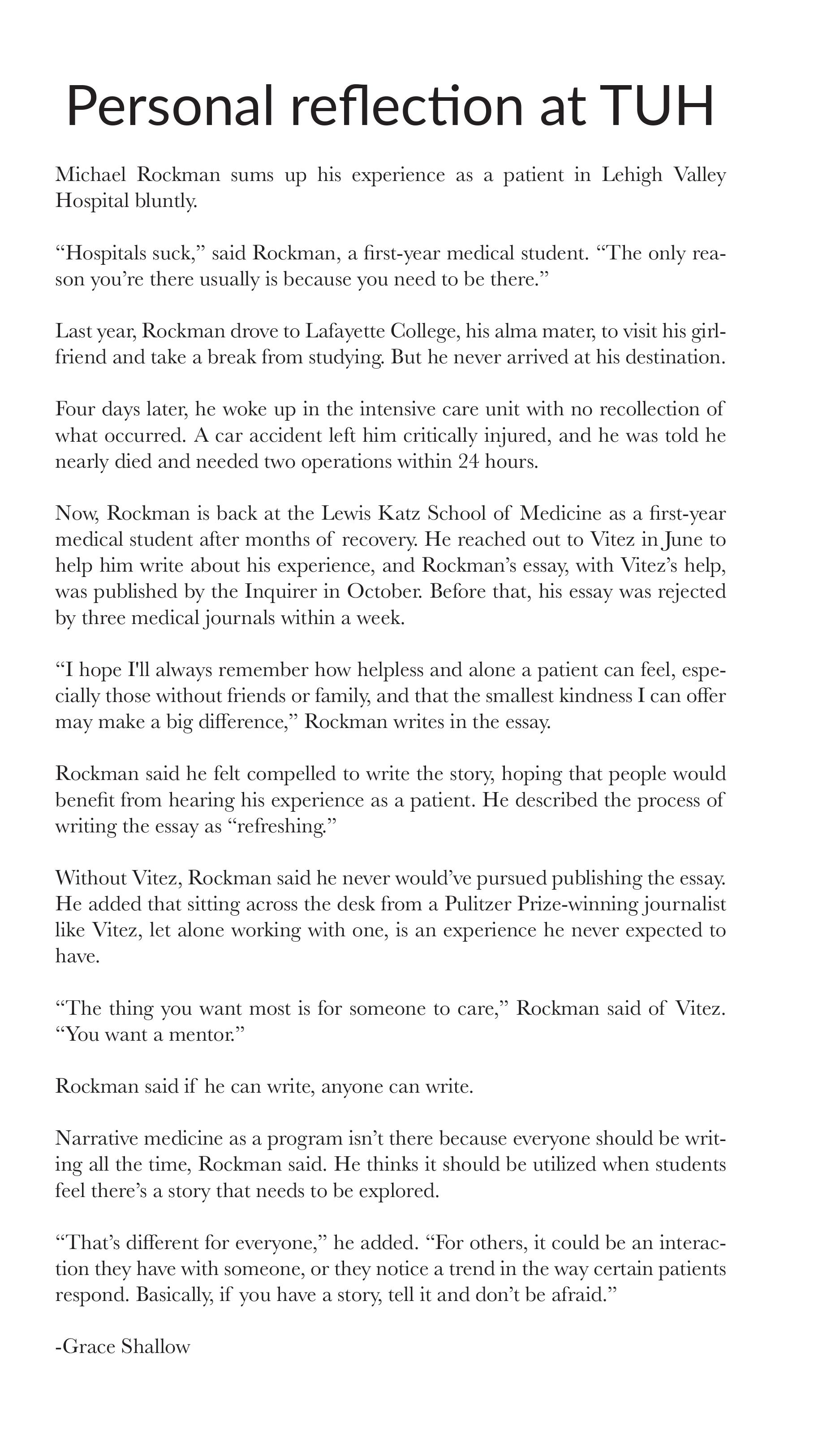 Reflective essay nursing