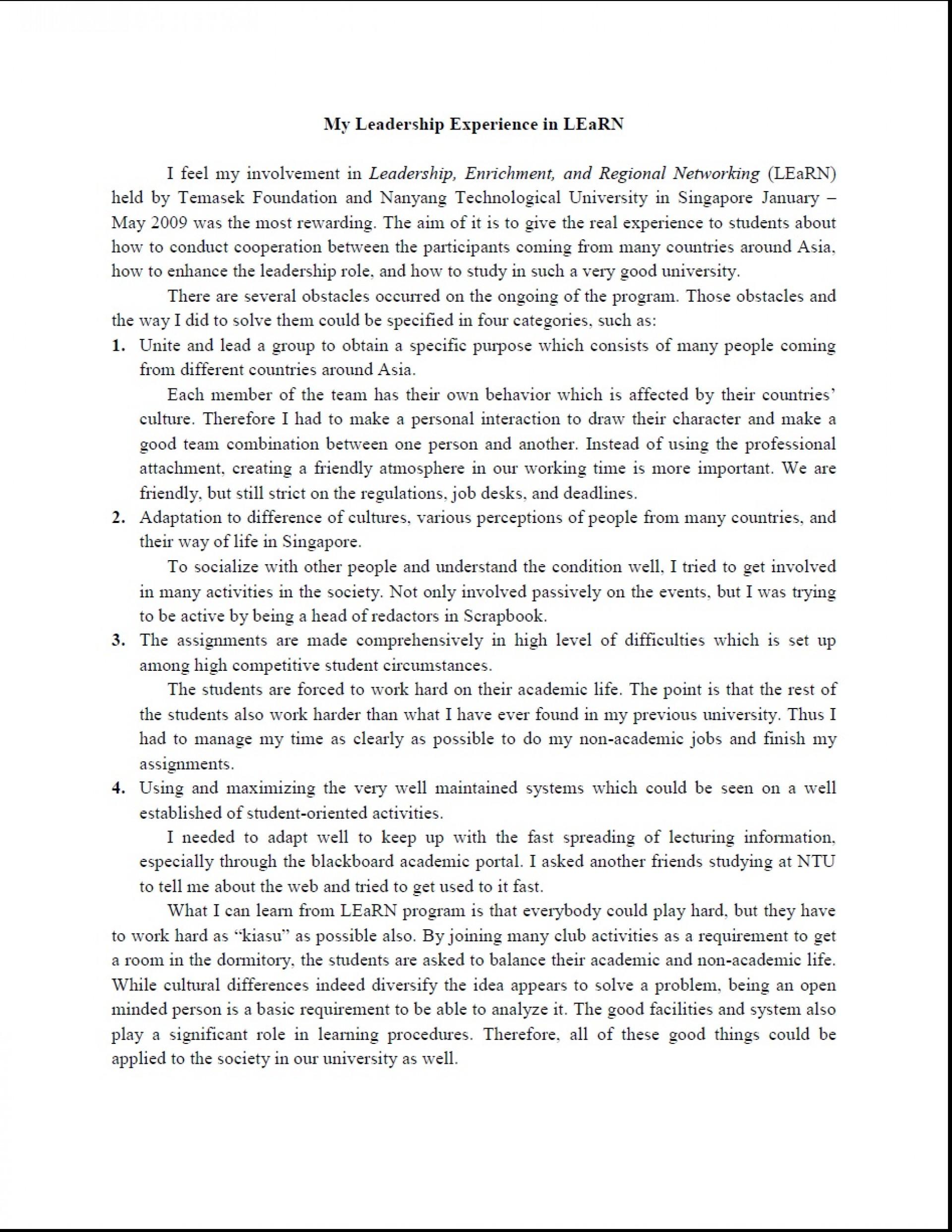 003 Essay Example Leadership Essays Striking Mba Samples Pdf 1920