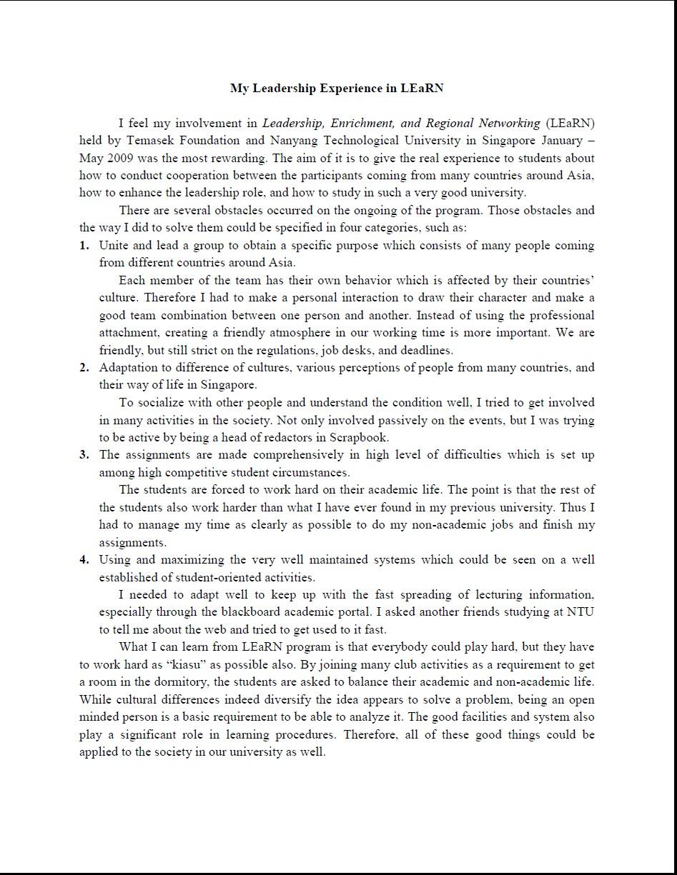 003 Essay Example Leadership Essays Striking Mba Samples Pdf Full