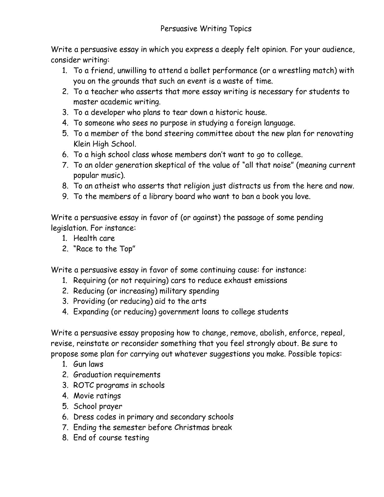 003 Essay Example Mfrv3azzsf Good Persuasive Amazing Topics For College Argumentative High School Full