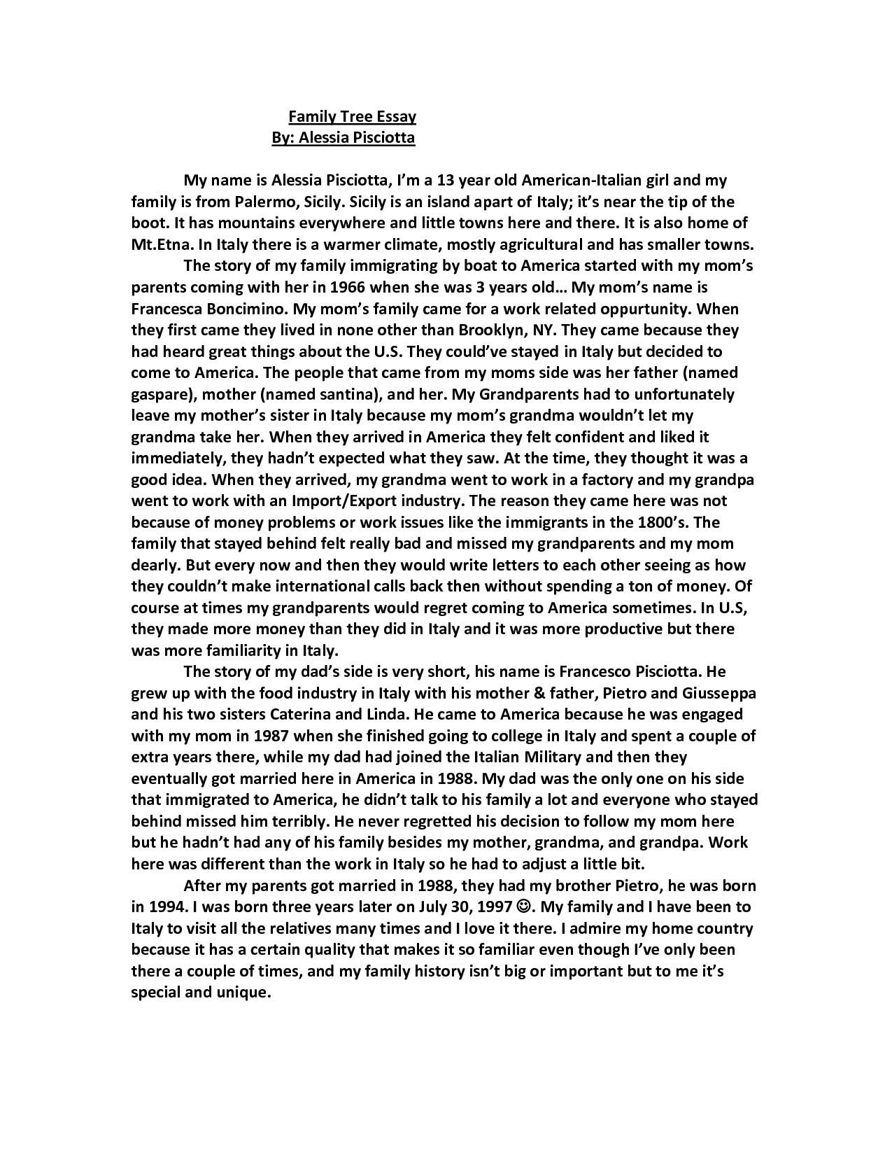 003 Essay Example My Family Tree How To Write An About Writing In English Po4ax Our I Love For Class Singular Narrative Ideas Conclusion Life Topics Full