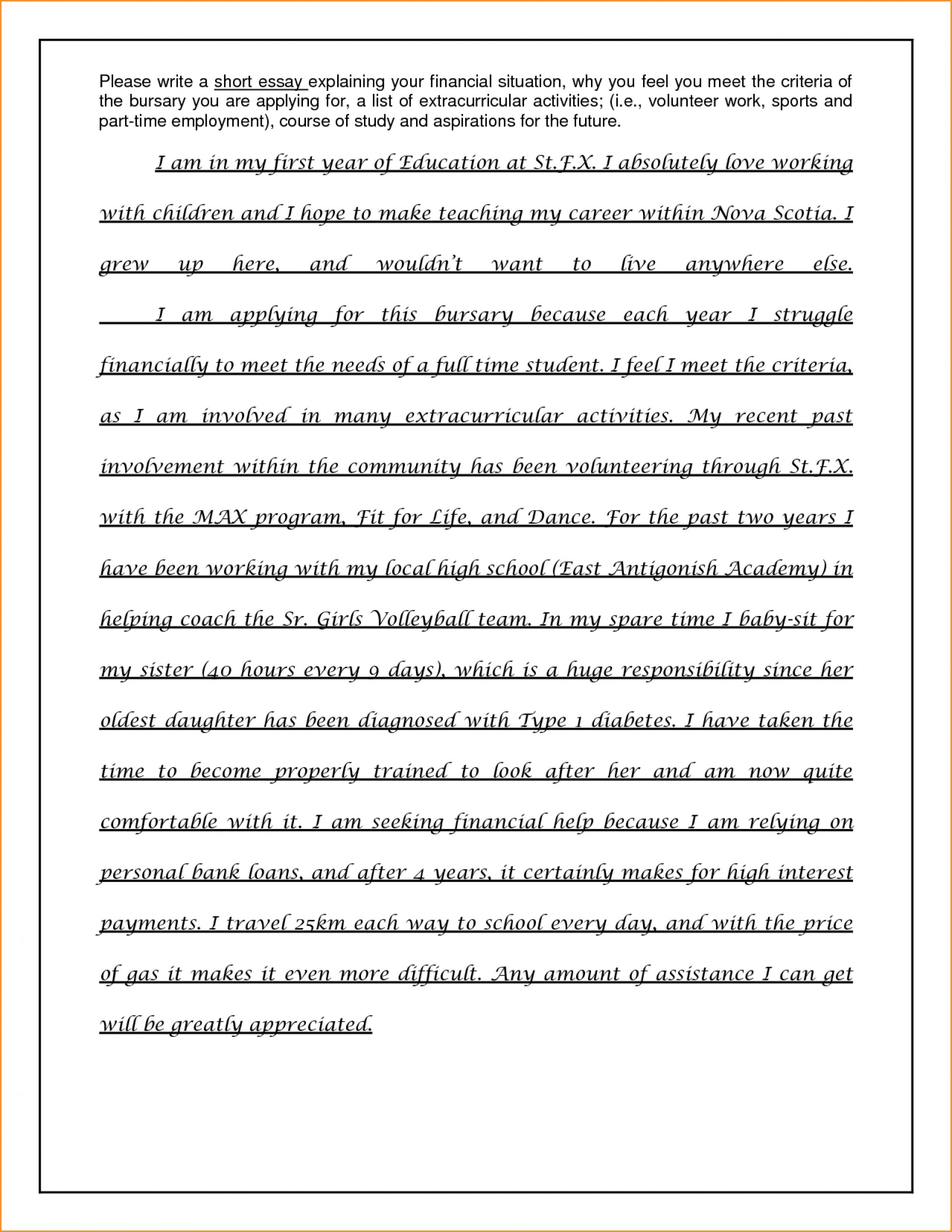 003 Essay Example No Scholarships For College Students High School Seniors Scholarship Examples Financial Need Free Required Freshmen Needed Awful 2019 1920